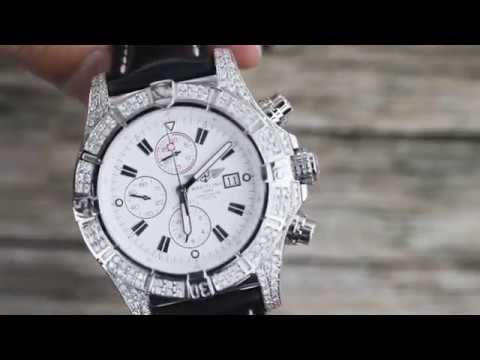 66f001becf8 Breitling Super Avenger White A13370 Diamond Authentic Watch with Leather  Strap - YouTube