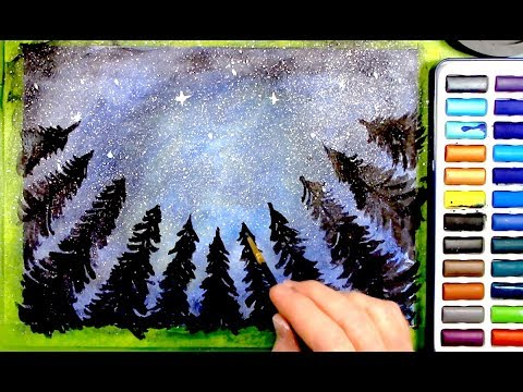 Relaxing Water Color Painting - Northern Lights ASMR