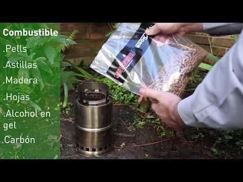 Calentador a biomasa para camping
