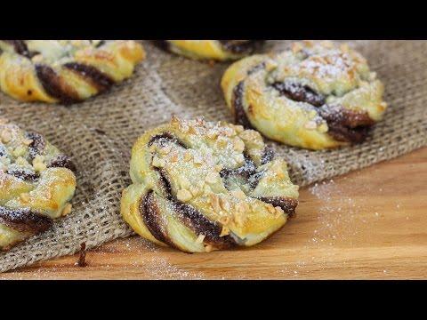 Nutella Schnecken aus Blätterteig mit Mandeln / Nutellakringel / Nutellaschnecken /Nutella Kringel