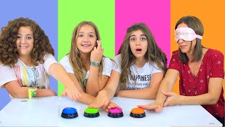 DON'T PRESS THE WRONG BUTTON SLIME CHALLENGE With Our MOM BLINDFOLDED!  (Annelise CHEATED!)