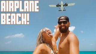 AIRPLANE BEACH   DANGEROUS JET ENGINE BLAST   LOW PLANE LANDINGS   MAHO BEACH SAINT MARTIN