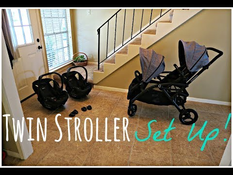 TWIN STROLLER SET UP! Contours Options Elite & Britax B Safe 35