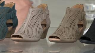 Earth Nubuck Perforated Peep-toe Booties - Keri on QVC