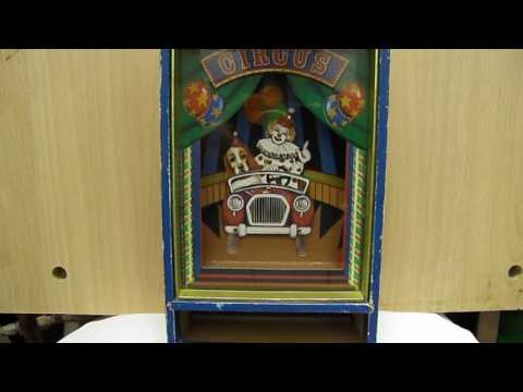 CAJA MUSICAL,MUSICAL BOX CIRCUS,IKECHO,PAYASO CON PERRO EN COCHE,MADE IN JAPAN,AÑOS 70