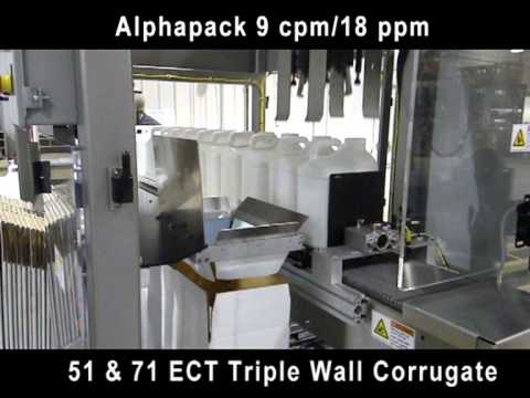 Alphapack Triple Wall Case and F Style Jug Pick and Place Packer