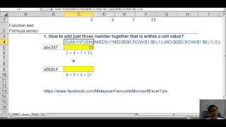 Excel Function and Formula: Add Just Number within Cell