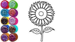 Glitter Sunflower Coloring And Drawing For Kids Flower Coloring Pages | Mirza Colors Kids