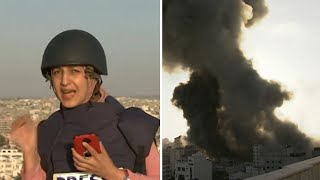 video: Watch: Journalist rushes for cover as Gaza building destroyed during live report