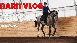 BARN VLOG|| Flying Changes, Baby Canter Halfpass and More!