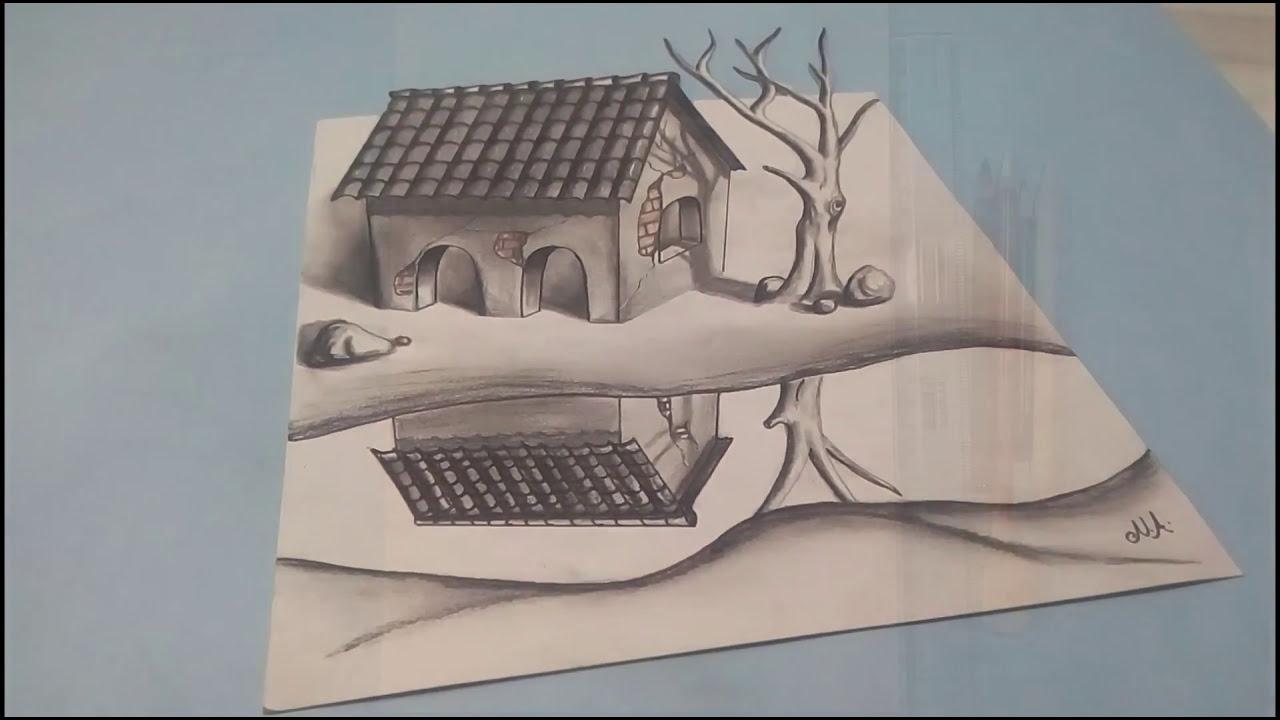 3d drawing of a hut scenary by naushad ahmad