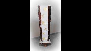 Holz Stehlampe mit Sternen / LED Beleuchtung