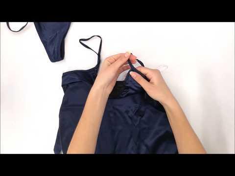 Košilka Satinia babydoll dark blue - Obsessive