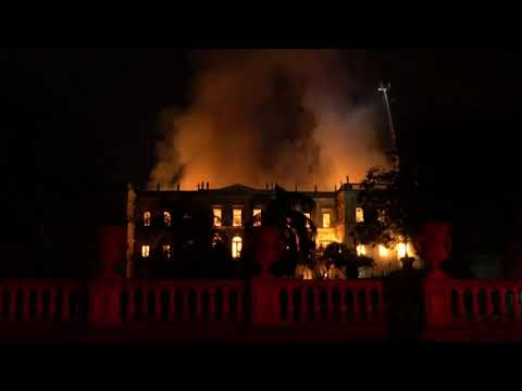 A huge fire engulfed Brazil's 200-year-old National Museum in Rio de Janeiro, lighting up the night sky with towering flames as firefighters and museum workers raced to save historical relics from the blaze. (Sept. 3)