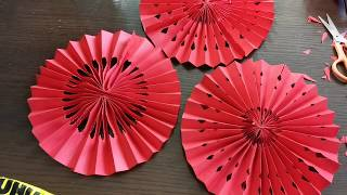 Origami Fan Lantern - DIY Chinese New Year Decoration, wedding decoration idea  - 新年婚礼装饰, 折纸, 手工剪纸.