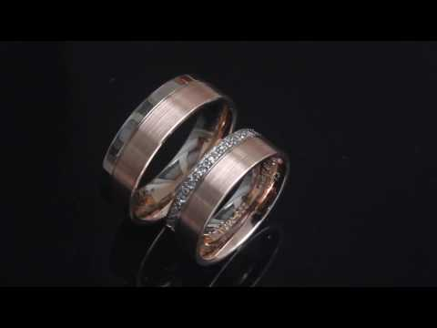Eheringe IM264 Bicolor aus Weiß  und Rosegold mit 11 Diamanten