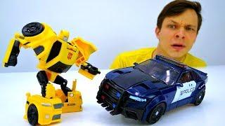 Игры Трансформеры. Робот Десептикон Баррикейд и Автоботы.