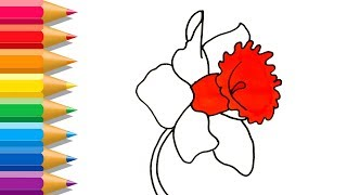 Flower Coloring Pages | Drawing And Art Colours For Kids With Colored Markers