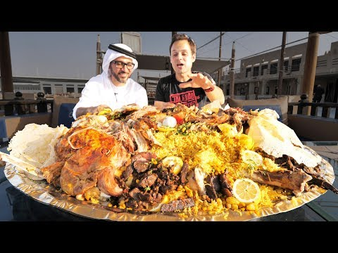 Dubai Food - RARE Camel Platter - WHOLE Camel w/ Rice + Eggs - Traditional Emirati Cuisine in UAE!