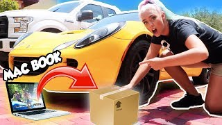 DONT RUN OVER THE WRONG MYSTERY BOX!! Expensive Items! MacBook, Makeup, Louis Vuitton | NICOLE SKYES