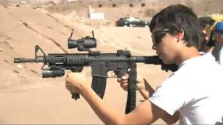 14 Year Old Nickolas shooting an M4A1 Assault Rifle