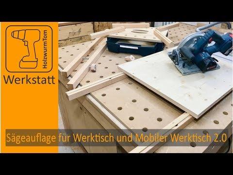 Sägeauflage für den Werktisch und HolzwurmTom's Mobiler Werktisch 2.0