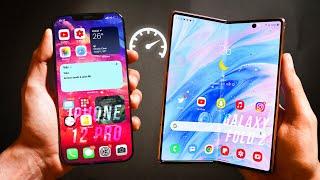 iPhone 12 Pro MAX vs Samsung Galaxy Z FOLD 2 - Speed Test!