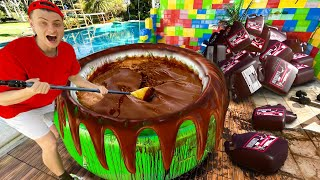 I FILLED MY HOT TUB WITH 200 GALLONS OF CHOCOLATE SYRUP!!