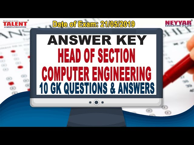 Kerala PSC Exam (21-05-2019) Head Of Section in COMPUTER ENGINEERING