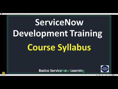 ServiceNow Training Course Syllabus | Free ServiceNow Online ...