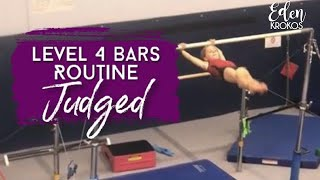Gymnastics Level 4 Bars Routine Judged (Deductions Explained)