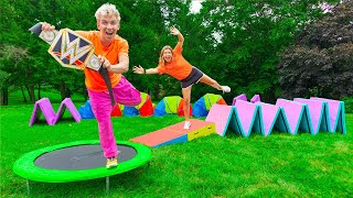 Challenging Grace Sharer to WWE Backyard Obstacle Course!! (Winner Gets Championship Title)