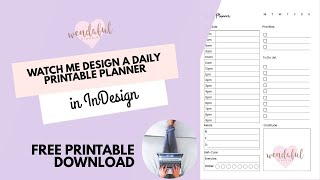 Watch Me Design A Daily Printable Planner Insert In InDesign