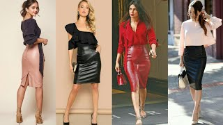 Awesom And Classy Office Lady Leather Pencil Skirts Outfit For Business Women #2020