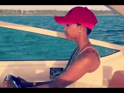 Huddah Monroe shows off her big butt while driving a yacht