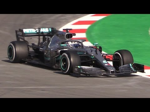 Mercedes W10 F1 2019 Testing at Barcelona Circuit-Hamilton and Bottas in Action