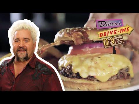 Guy Fieri Eats a Bacon BBQ Brisket Cheeseburger