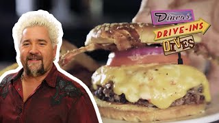 Guy Fieri Eats A Bacon BBQ Brisket Cheeseburger | Diners, Drive-Ins And Dives