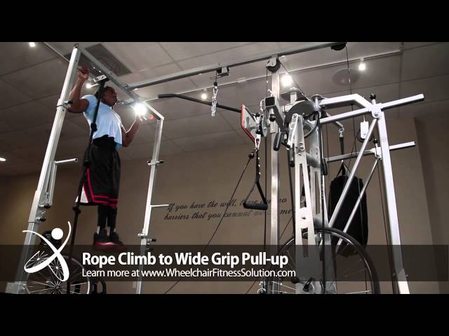 Wheelchair Fitness Solution | Exercise: Rope Climb to Wide Grip Pull Up (13 of 40