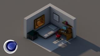 Создание изометрической сцены комнаты в Cinema 4D (Isometric Room Scene in Cinema 4D)
