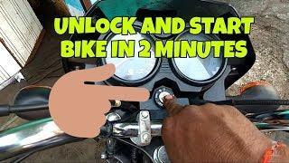 how to unlock and start bike without keys (bajaj ct100)