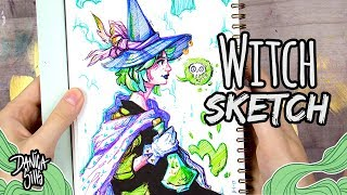 Witch Sketch ♦ Sketching with Felt Tip Pens