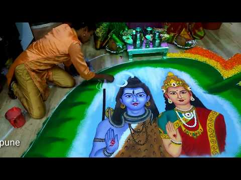 portrait rangoli design lord shiva parvati by rajshri bhagwat