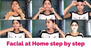 How to do Facial at Home Step by step | flawless glowing skin at home |GiveawayWeek | Rinkal soni