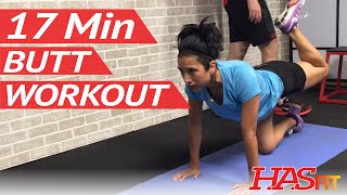 17 Min Butt Workout at Home - Glute / Butt Workouts for Women & Men w/ Dumbbells Weights by HASfit