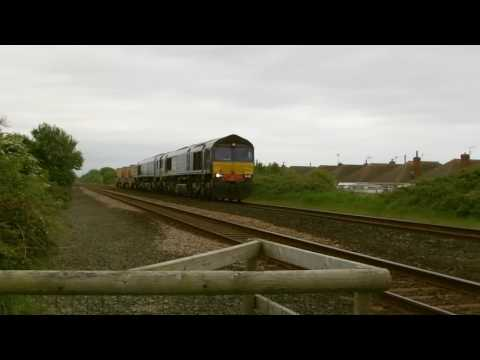 66303 & 66424 on Valley flasks pass Prestatyn 25th May 2016
