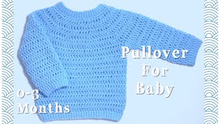 Crochet Pullover Sweater For Baby 0-3 Months #112