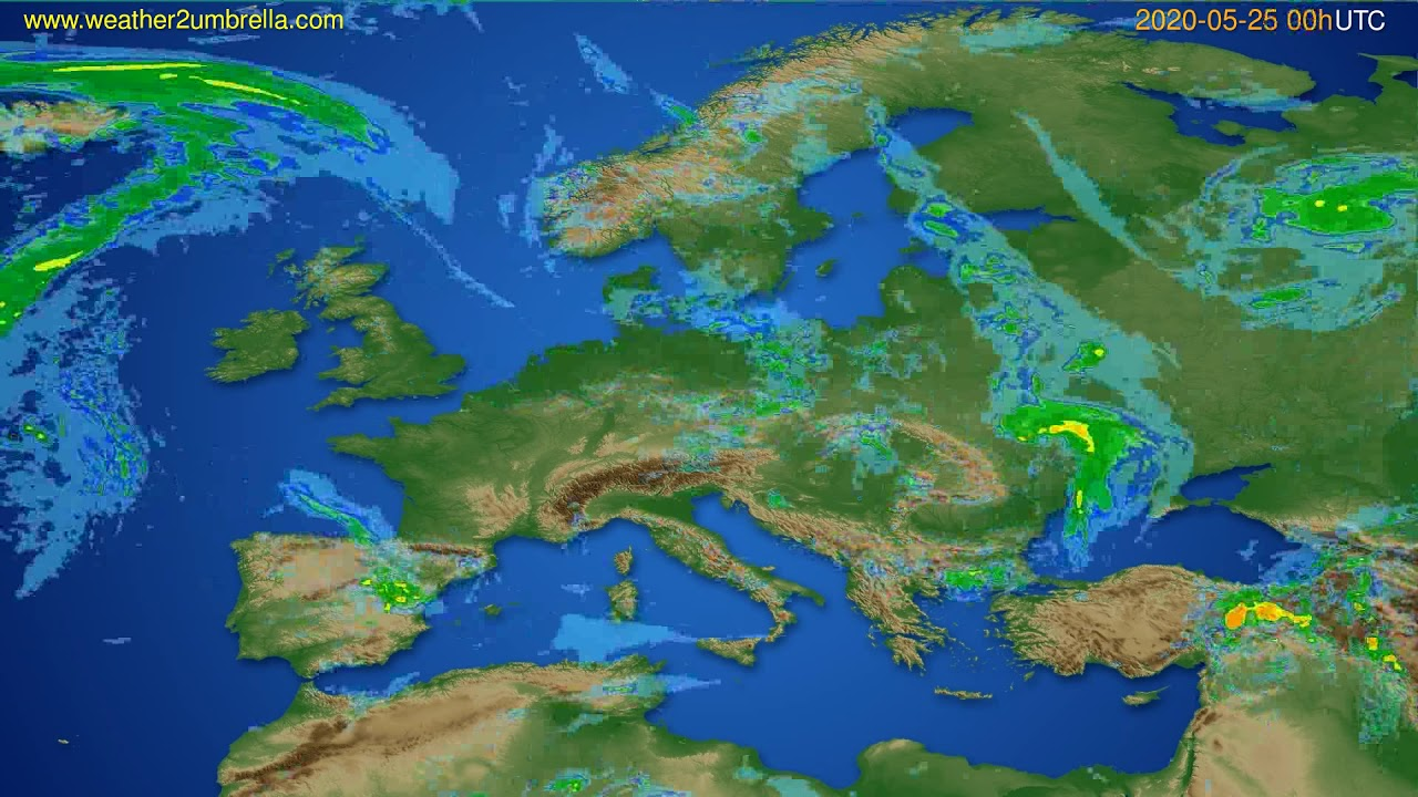 Radar forecast Europe // modelrun: 12h UTC 2020-05-24