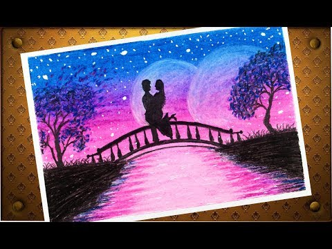 How To Draw Sweet Couple And Moonlight Scenery With Oil Pastel Step