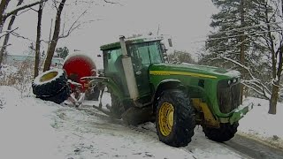 John Deere 8320 collides into a tree.